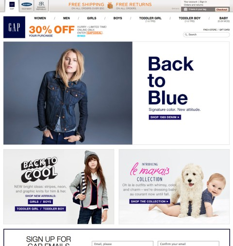 Take 30 percent OFF Gap Canada purchases!