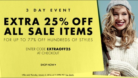 End of Season Sale! Additional 25% Off at Shopbop & East Dane!