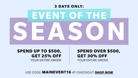 Get up to 30% off any SHOPBOP purchases within these 3 days!