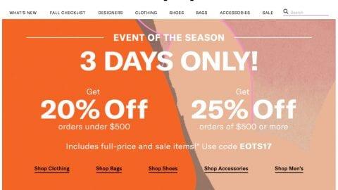Get 25% off Shopbop now!