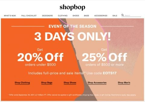 Get 25% off Shopbop now!