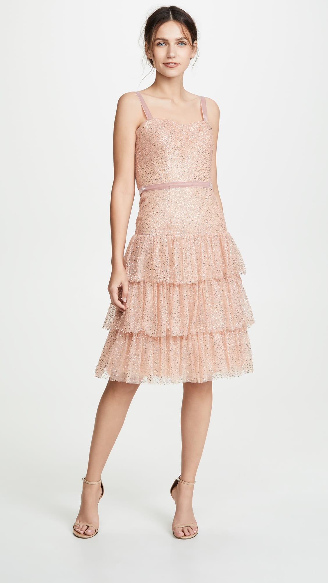 Marchesa Notte Glitter Tulle Cocktail Dress shopbop
