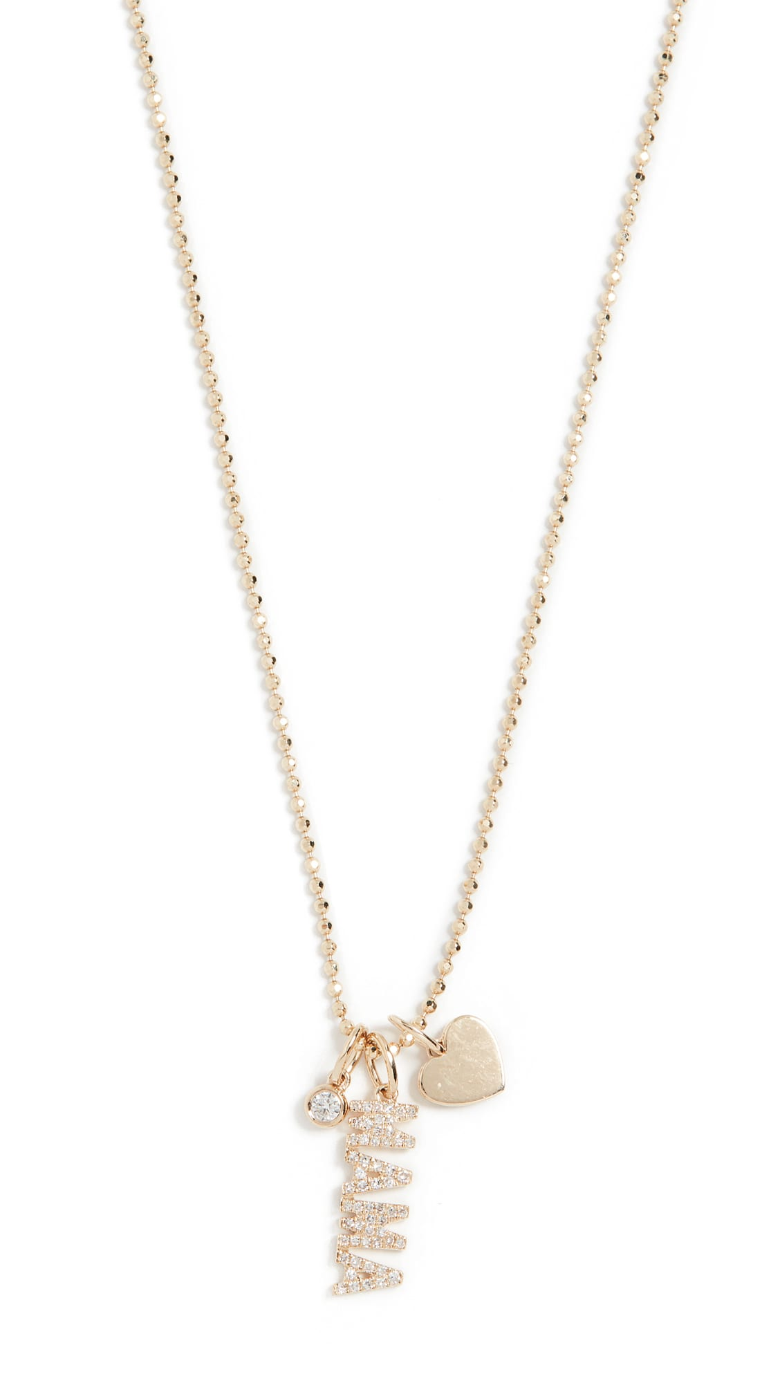 shopbop EF Collection 14k Diamond Mama Charm Necklace