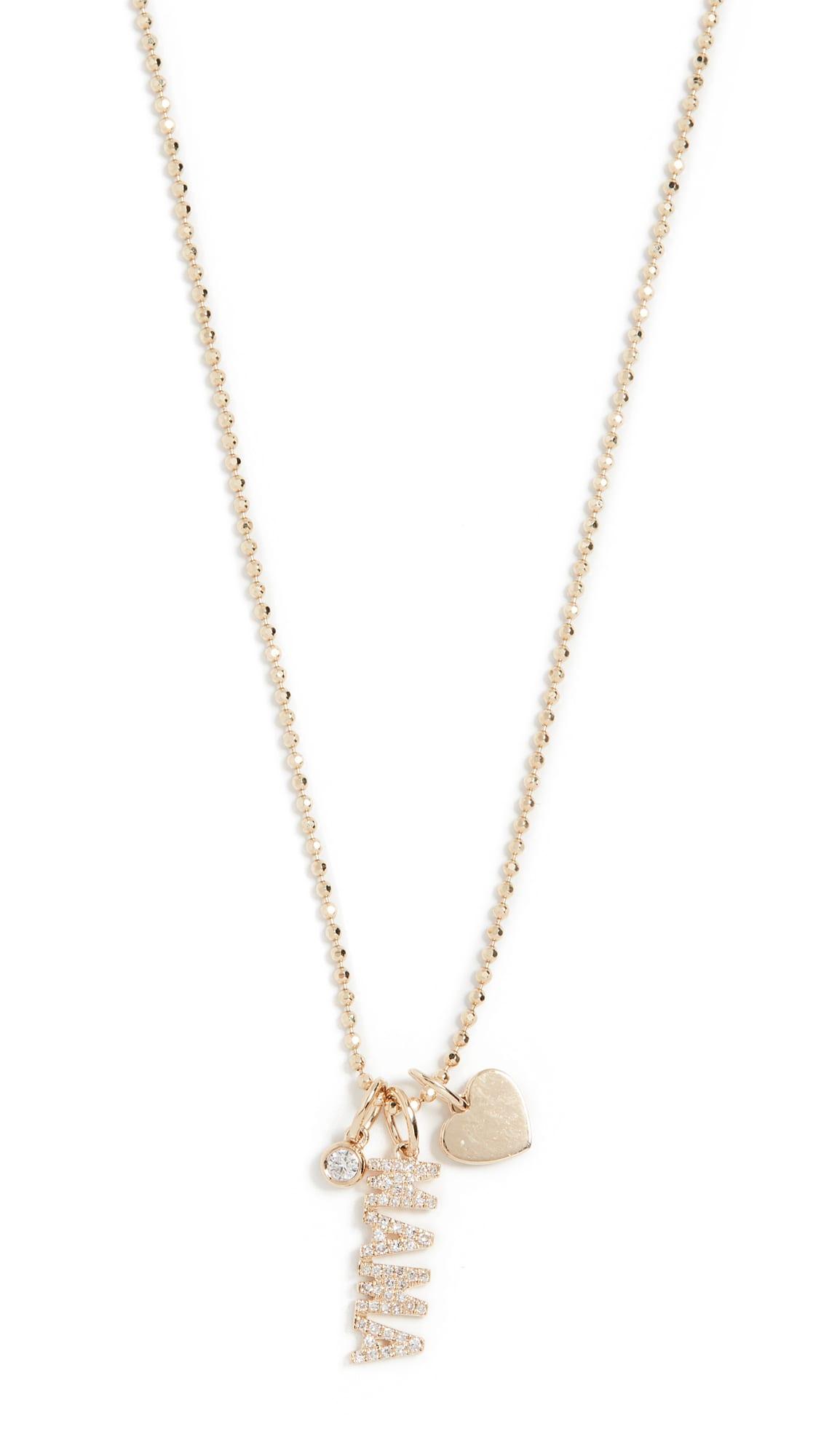 shopbop EF Collection 14k Diamond Mama Charm Necklace